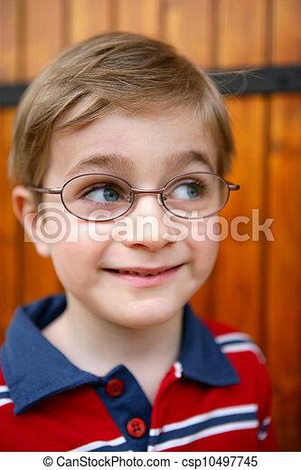 Curious little boy wearing glasses - csp10497745