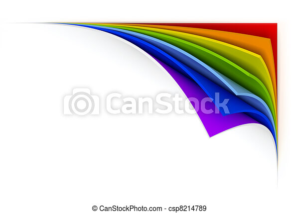curled  rainbow paper - csp8214789