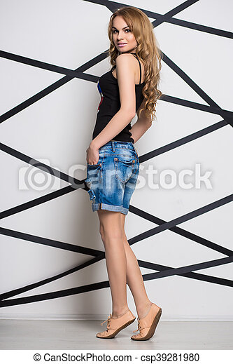 Curly blond woman - csp39281980