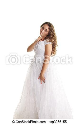 Curly bride gesturing hush - csp3366155