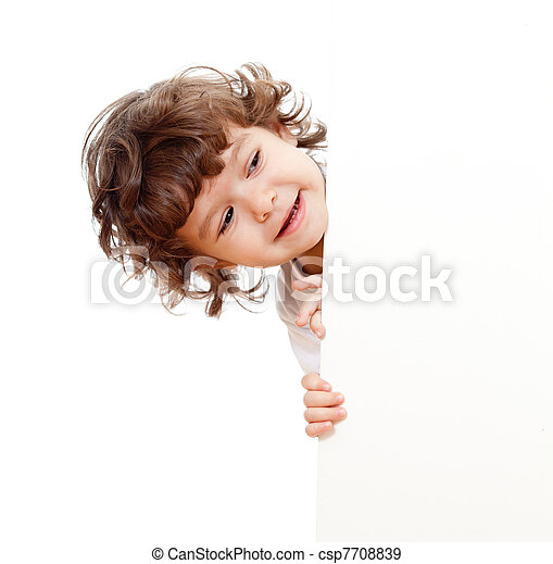 Curly funny child face holding blank advertising banner - csp7708839