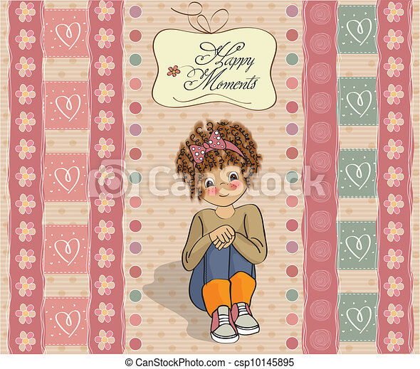 curly girl in the happy moment - csp10145895
