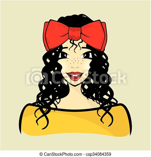 Curly hair girl  - csp34084359