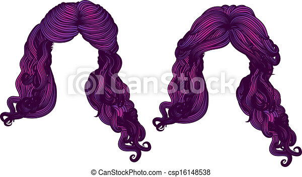 Curly hair of purple color - csp16148538