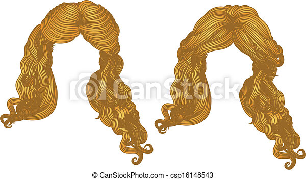 Curly hair of yellow color - csp16148543