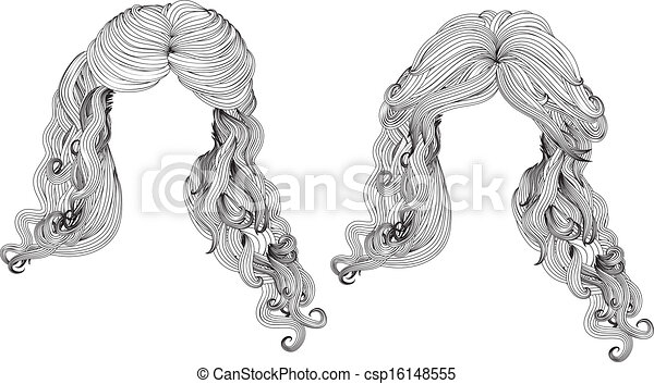 Curly Hair Style In Black And White Illustration Of Black