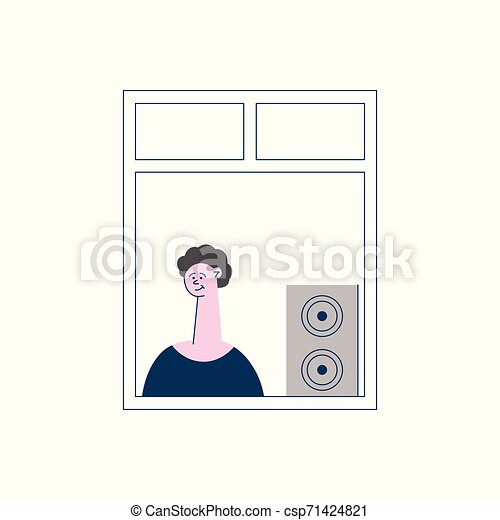 Curly man or boy brunet stands and windows and listens to music from a column or subwoofer - csp71424821
