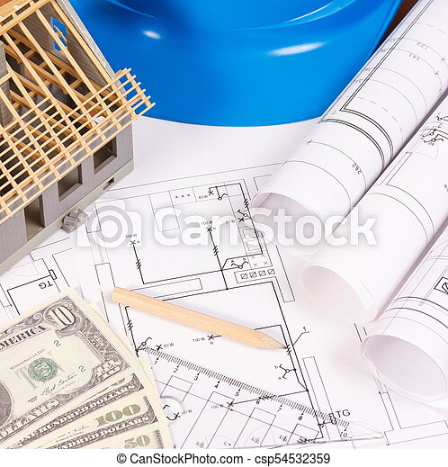 Currencies dollar, electrical diagrams, accessories for engineer jobs and house under construction, building home cost concept - csp54532359