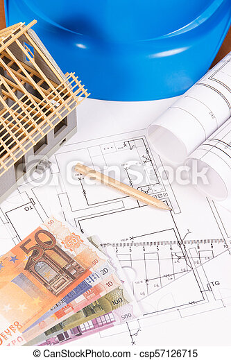 Currencies euro, electrical construction diagrams, accessories for engineer jobs and small toy house, building home cost concept - csp57126715