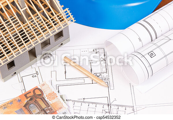 Currencies euro, electrical diagrams, accessories for engineer jobs and house under construction, building home cost concept - csp54532352