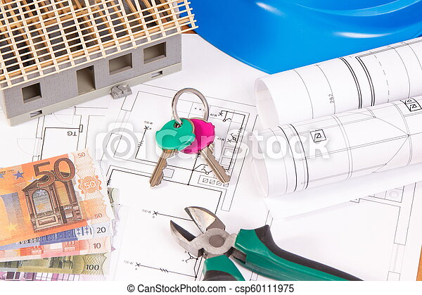 Currencies euro, home keys, electrical diagrams for engineer jobs and house under construction, building home cost - csp60111975