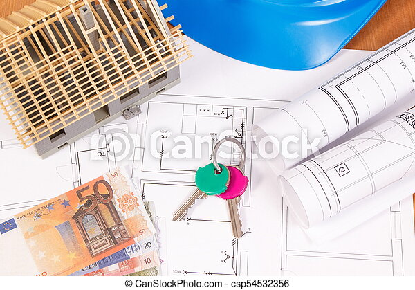 Currencies euro, home keys, electrical diagrams for engineer jobs and house under construction, building home cost - csp54532356