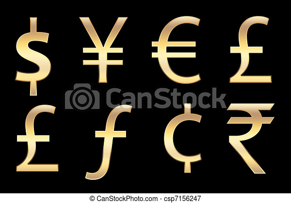 All Currencies Symbols In Gold For Business Concepts