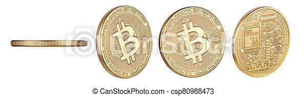 currency., coin., aislado, digital, bitcoin, físico, pedacito, cryptocurrency - csp80988473