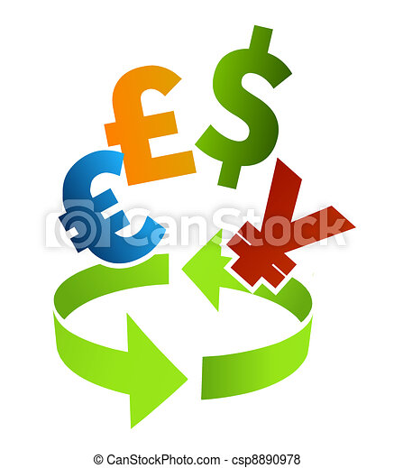Currency Converter Clip Art Illustration With Arrow And Different