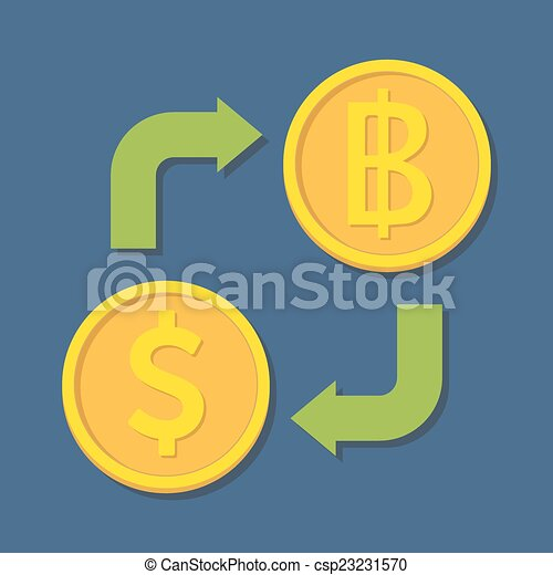 Currency exchange. Dollar and Baht. - csp23231570