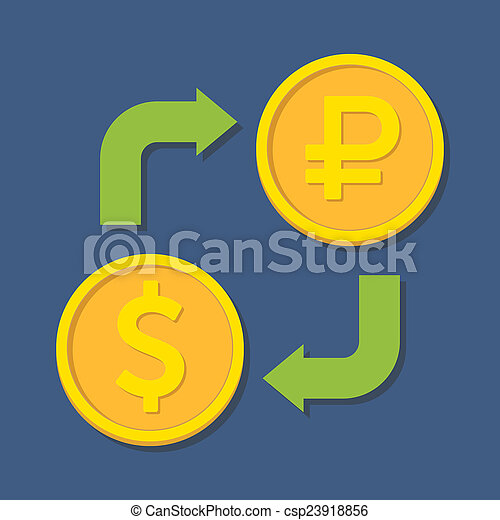 Currency exchange. Dollar and Rubl. - csp23918856