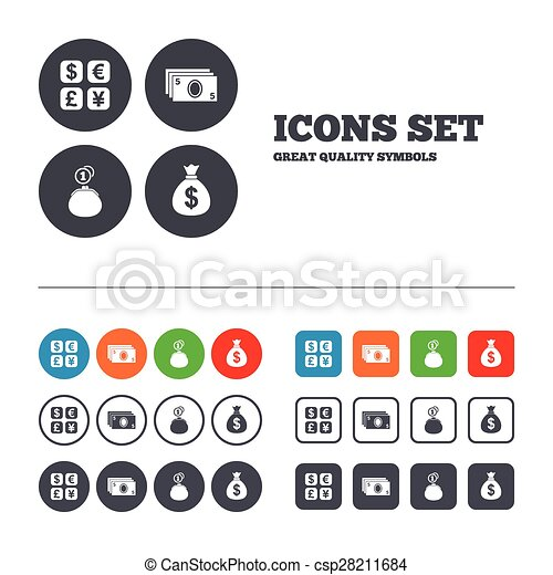 Currency Exchange Icon Cash Money Bag Wallet Currency Vector