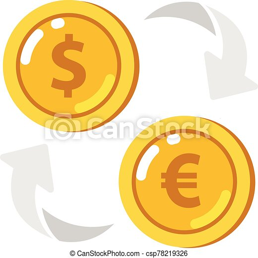 Currency exchange icon. Coin with dollar, euro sign. - csp78219326