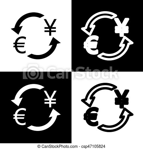 Currency Exchange Sign Euro And Japan Yen Vector Black And White
