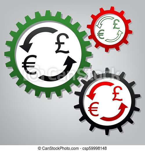 Currency exchange sign. Euro and UK Pound. Vector. Three connect - csp59998148