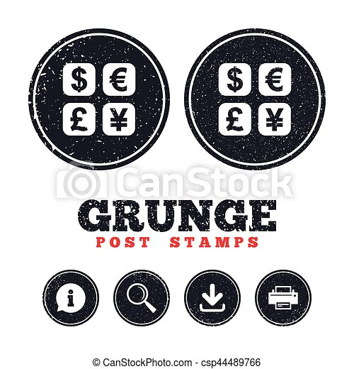 Currency Exchange Sign Icon Currency Converter Grunge Post Stamps