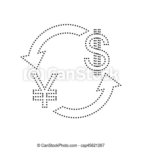 Currency Exchange Sign Japan Yen And Us Dollar Vector Black