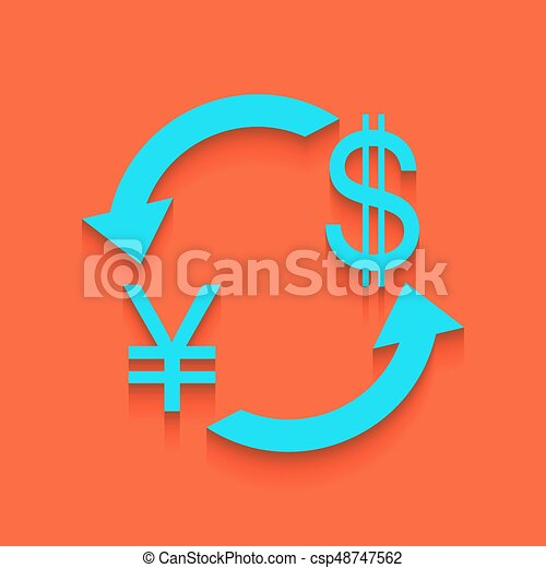 Currency Exchange Sign Japan Yen And Us Dollar Vector Clip Art
