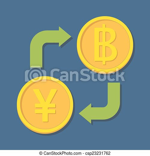 Currency exchange. Yen(Yuan) and Baht. - csp23231762