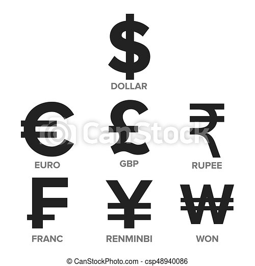 Currency Icon Set Vector Money Famous World Currency Vector