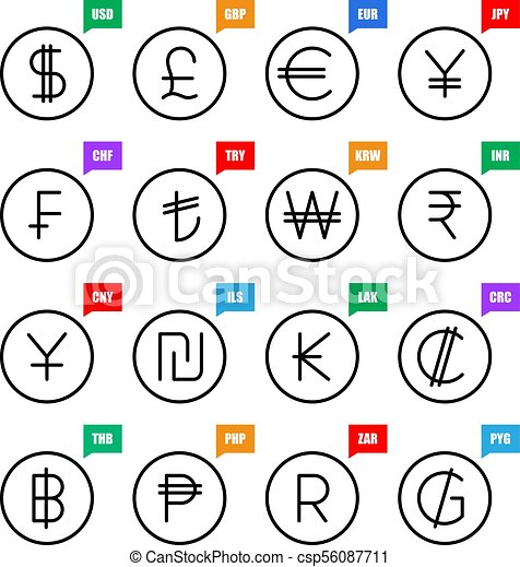 Currency Signs Money Vector Icons Us Dollar Uk Pound Euro