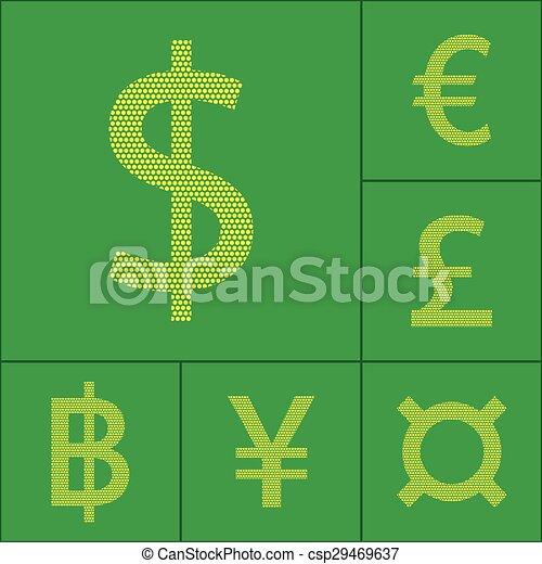 Currency symbol dollar, euro, yen, pound, baht - csp29469637