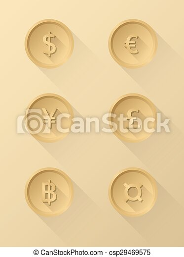 Currency symbol icons dollar, euro, yen, pound, baht - csp29469575