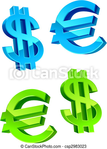 Currency Symbols Glossy Currency Symbols Of Usa Dollar And Euro