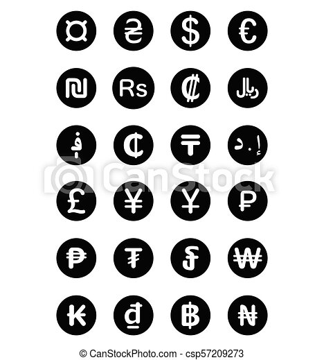 Currency Symbols Of The World Isolated On White Background