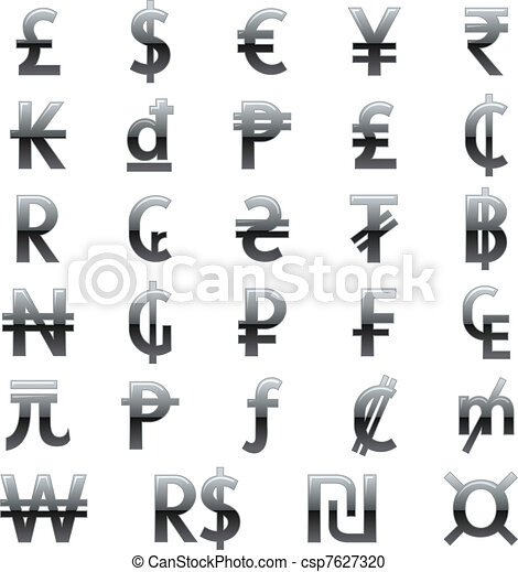 Currency Symbols Of The World Set Of Currency Symbols Of The World