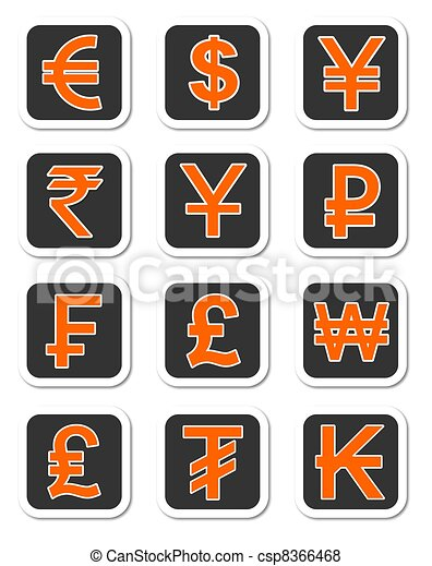 Currency Symbols An Illustration Of Major Currency Sysmbols Of