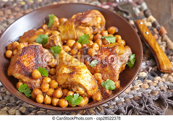Curry Chicken With Chickpeas - csp28522378