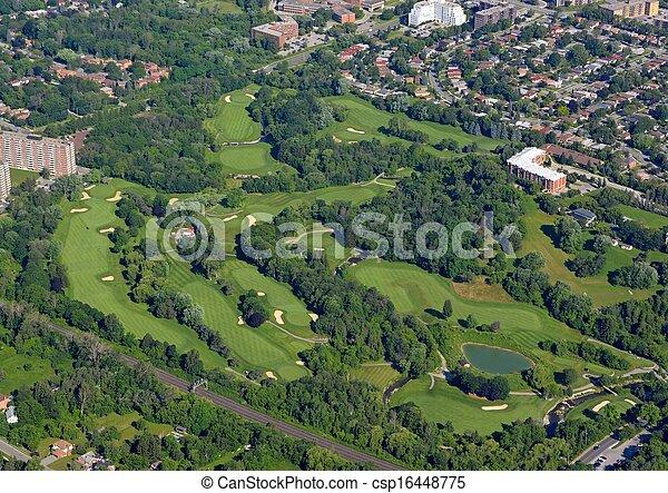 Campo de golf Scarborough aérea - csp16448775