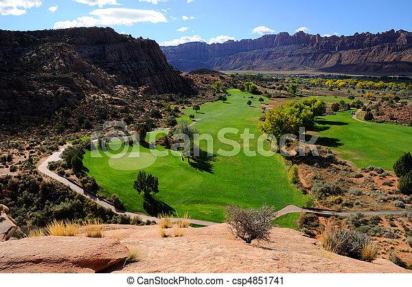 curso, golfe, deserto, moab - csp4851741