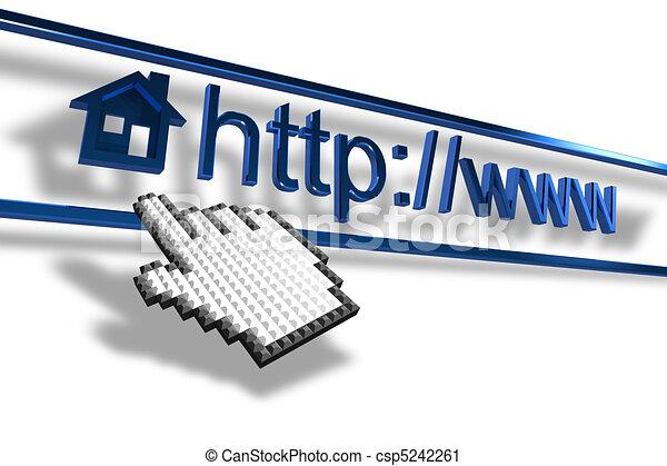 cursor, addre, página principal, señalar, mano - csp5242261
