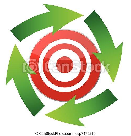 Flecha de curvas alrededor del objetivo - csp7479210