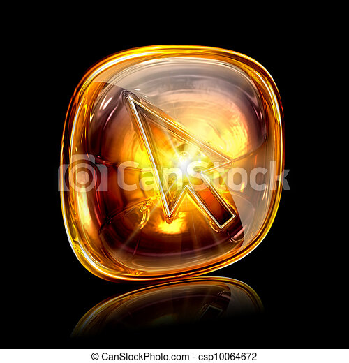 cursor icon amber, isolated on black background - csp10064672