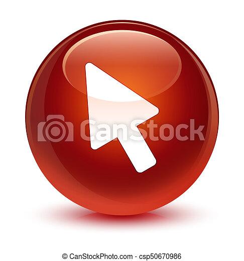 Cursor icon glassy brown round button - csp50670986