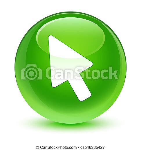 Cursor icon glassy green round button - csp46385427