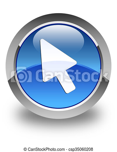 Cursor icon glossy blue round button - csp35060208