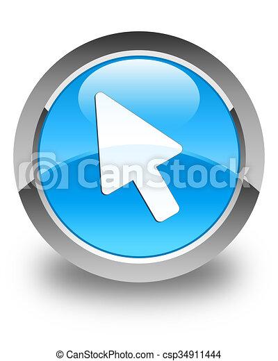 Cursor icon glossy cyan blue round button - csp34911444