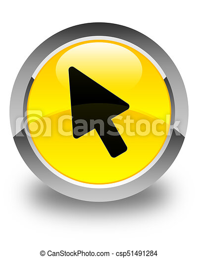 Cursor icon glossy yellow round button - csp51491284