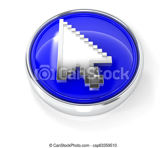 Cursor icon on glossy blue round button - csp63359510