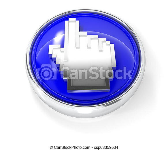 Cursor icon on glossy blue round button - csp63359534